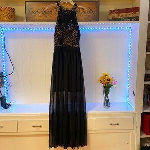 Nightway Sequin Long Gown See through Mesh Sz